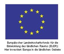EU Emblem mit Förderspruch klein - Die Lage